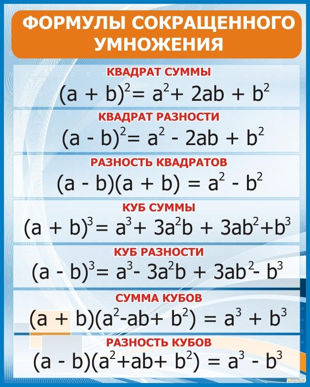 их формула сокращёного приминения триугольника по решебник алгибре и